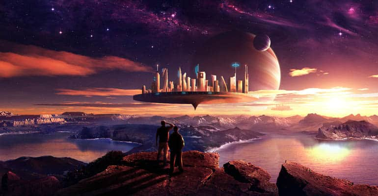 flying city on alien planet