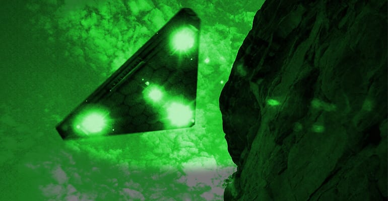 triangle ufo with green lights