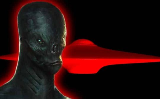 humanoid alien near red ufo