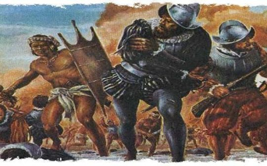 conquistadors fight with aztecs