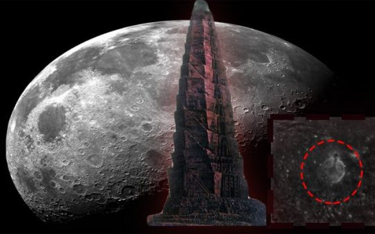 colossal spiral tower on the moon