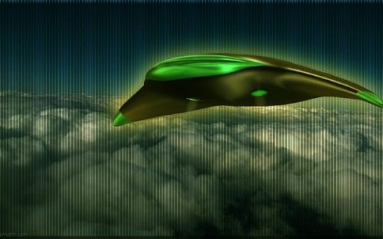 winged ufo flying over clouds