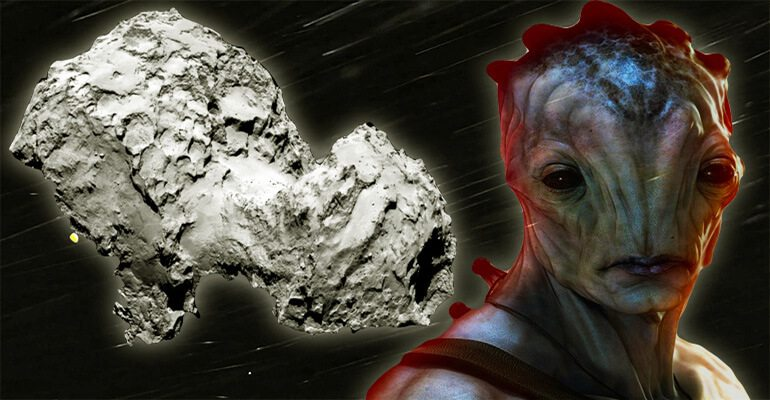alien near comet in space