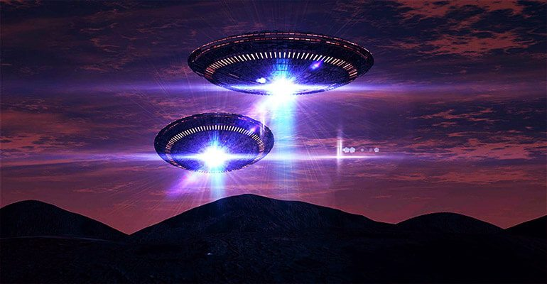 bright ufos above mountains