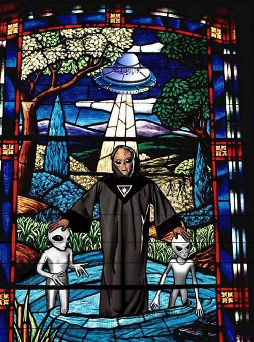 NASA Aliens Religion stained glass