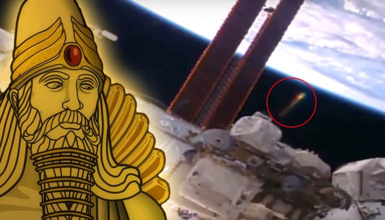 Anunnaki golden UFO near ISS