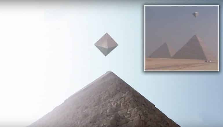 is This Video Of Metallic UFOs Over Giza Pyramids CGI?