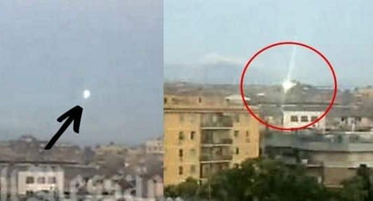 A Ball of Light UFO Takes Off From A Roof In Rome (caught on camera)