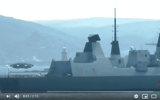 UFO Hovers Over Military Naval Ship